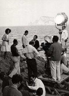 "Lea Massari, Gabriele Ferzetti and Michelangelo Antonioni while filming ""L'avventura"" (1960)"