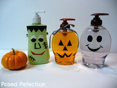 Spooky Soap Dispensers...made these today with my daughter. Super cute & easy for a 4 yr. old. Hardest part was using the Goof Off to remove the label's adhesive.