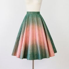 Full Green Pink and Gold Quilted Ombre Skirt by salvagelife, $120.00 no label