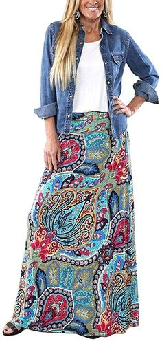 Shop a great selection of Yinggeli Women's Bohemian Print Long Maxi Skirt. Find new offer and Similar products for Yinggeli Women's Bohemian Print Long Maxi Skirt. Maxi Outfits, Boho Outfits, Modest Outfits, Trendy Dresses, Nice Dresses, Dresses Dresses, Woman Dresses, Modest Fashion, Boho Fashion