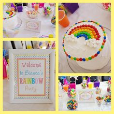 Rainbow party theme - love the smartie rainbow on the cake, simple but effective. Check it out @ belvajune.com.
