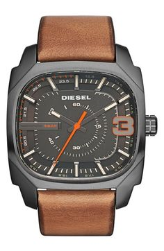 Free shipping and returns on DIESEL® 'Shifter' Square Leather Strap Watch, 42mm at Nordstrom.com. A rounded square dial offers a fresh, modern look to this handsome, sports-minded watch secured with a smooth leather strap.