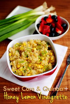 Sweet Corn & Quinoa with Honey Lemon Vinaigrette - made this, but subbed onions for green onions.  added carrots and sun dried tomatoes and topped with greek yogurt.  SO GOOD.