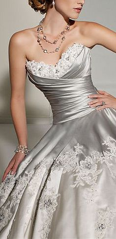 Love the color and bodice of this wedding dress #provestra