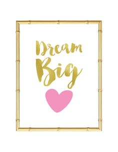 Free Printable Dream Big Heart Art from @chicfetti - easy wall art diy