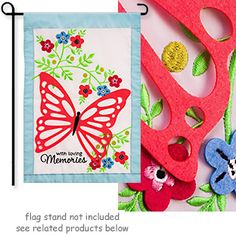 """With Loving Memories Garden Flag.     Applique and Embroidery detail with 3D felt accents.  Size: 12.5"""" x 18"""".   *Always Free Shipping in the USA*"""