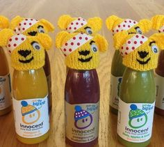 Pudsey hats by the talented Jo Smoothie Company, Innocent Drinks, Big Knits, Hot Sauce Bottles, Beanies, Cosy, Fundraising, Charity, Xmas