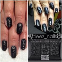 Deez Nails x @therealpatricenicole x Chanel Pre-Fall 2013. celebrating the addition of cableknit to the #Chanel family. #welcome #deeznails #chanel #chanelnails #matteblack #matteblacknails #cableknitnails #nails #nailart #nailswag