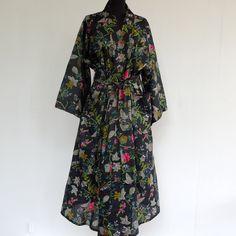 kimono robe de chambre noir dessin paradise : Autres mode par akkacreation