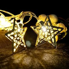 SOKATON Metal Star String Light Battery Operated 10 LED Warm White Decoration Lights for Christmas Xmas Halloween Party Wedding Festival Home Decoration  12M Sliver Star *** Click image to review more details.