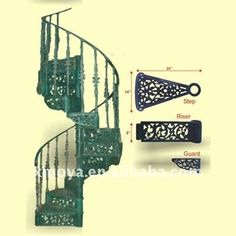 Decorative Wrought Iron Spiral Staircase