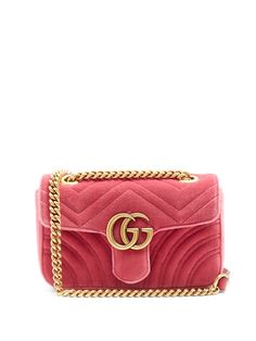 GUCCI Gg Marmont Mini Quilted-Velvet Cross-Body Bag. #gucci #bags #shoulder bags #leather #velvet #lining #