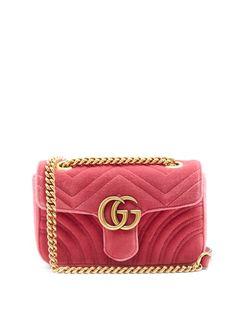 Gucci GG Marmont mini quilted-velvet cross-body bag - Gucci Purses - Ideas of Gucci Purses - Gucci GG Marmont mini quilted-velvet cross-body bag Pink Shoulder Bags, Quilted Shoulder Bags, Gucci Shoulder Bag, Chain Shoulder Bag, Crossbody Shoulder Bag, Shoulder Handbags, Gucci Purses, Gucci Handbags, Luxury Handbags