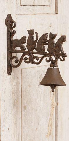 Primitive Cats on Dinner Bell, Wrought Iron, New, Indoor, Outdoor, Cat Lover…