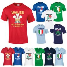 067a190e8e1 Six Nations 2017 T Shirt Rugby England Wales Scotland Ireland Italy France  2 | T-Shirts | Shirts & Tops