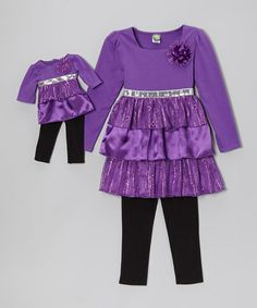 Take a look at this Purple & Black Tiered Tunic Set & Doll Outfit - Toddler & Girls by Dollie & Me on #zulily today!