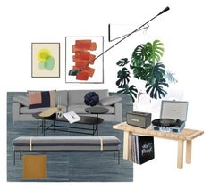 Living room by emelielundqvist on Polyvore featuring polyvore, interior, interiors, interior design, home, home decor, interior decorating, ferm LIVING, &Tradition, Flos, West Elm, Marshall and Klar