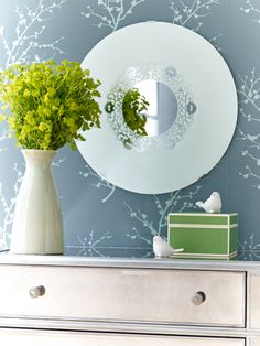 The most popular #craft on WomansDay.com - a mirror with a lacy design. Click to learn how to make it!