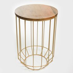 Gold Wire and Wooden Side Table