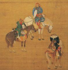 Khubilai Khan's Mongol Bodyguards H Miniature Painting; Chinese Artwork, Chinese Painting, Classic Paintings, Old Paintings, Illustrations, Illustration Art, Historical Art, Mongolia, Horse Art