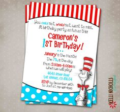 Cat In The Hat Birthday Party Invitation By KelliNichollsDesigns 1500 Great Invitations For A