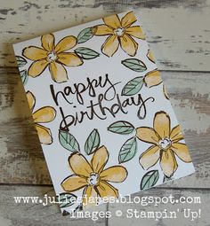 Julie Kettlewell - Stampin Up UK Independent Demonstrator -Garden in Bloom One Layer card Hello Honey, Mint Macaron and Early Espresso
