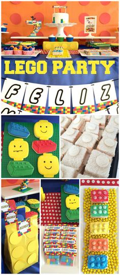 What a fun Lego party! Make sure to see the cake and cookies! See more party ideas at CatchMyParty.com!