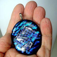 Dichroic Cobalt Glass Pendant  JUST THE AMULET Handmade