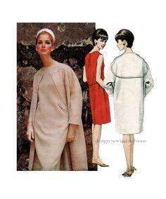 1960s Vogue 1473 DRESS & COAT PATTERN Cocoon Coat Mod Dress Federico Forquet Designer Vogue Couturier Womens Sewing Patterns Bust 38 Size 18 by DesignRewindFashions on Etsy