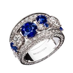 Symphonie d'Amour ring, by Mauboussin. High jewelry piece in white gold with blue sapphires and diamonds.