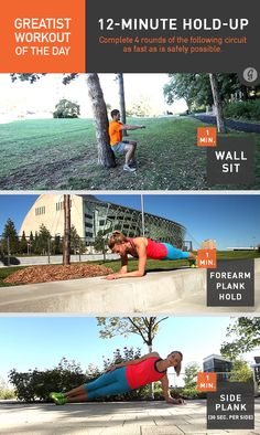 Greatist Workout of the Day, Monday, September 1st (completed Saturday, September 6): 12-Minute Hold-Up: 4 rounds of 1:00 wall sit, 1:00 forearm plank, 1:00 side plank