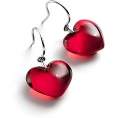 Baccarat Baby Cœur Wire Earrings ($320) ❤ liked on Polyvore featuring jewelry, earrings, accessories, red, bijoux, gift selection, anniversary charms, charm jewelry, wire heart earrings and red jewelry