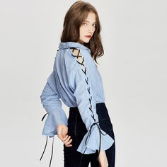 >> Click to Buy << 2017 Spring Fashion Women Casual Blouse Shirt Blue Striped Bow Tie Split Ruffle Long Sleeve Blouse Turn-down Collar Ladies Tops #Affiliate