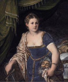 """Lambert Sustris, """"Judith with the head of Holofernes"""" c.1550, oil on canvas, 95 cm x 113 cm, Palais des Beaux-Arts de Lille, Lille, France"""