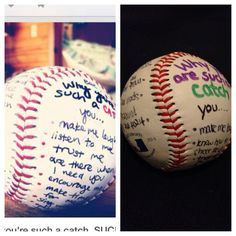 Valentine's Day gift I made for my boyfriend who's a baseball player. Pinterest on left, mine on right. -KC