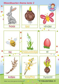 Spring words with pictures spring theme, kindergarten expert, free printable Kindergarten Math Activities, Easter Activities, Spring Activities, Preschool, Weather Cards, Learn Dutch, Spring Words, Dutch Language, Spring Theme