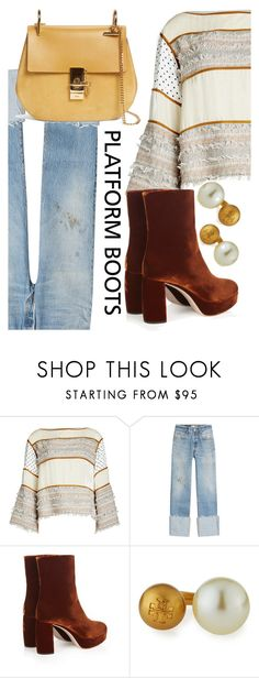 """""""Untitled #544"""" by sara12alexandra ❤ liked on Polyvore featuring See by Chloé, RE/DONE, Miu Miu, Tory Burch, Chloé, Boots, orange, bag, jeans and PlatformBoots"""
