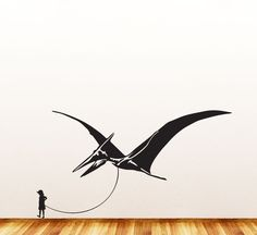 """Dinosaur Pet - Child with Pterodactyl - Wall Vinyl Decal Sticker - ©YYDC (36""""w x 20""""h) (Variations Available)"""