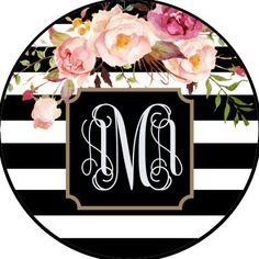Flowers with Stripes Monogram by ArchandJillGraphics on Etsy Custom Tire Covers, New Windsor, Initials, Super Cute, Monogram, Stripes, Black And White, Creative, Flowers