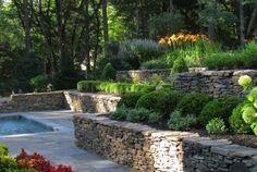 jardin terrasses piscine murets pierre