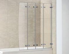 4 Panel Curved Semi Frameless Folding Bath Screen | Folding Bath Screens |  Splashdirect. £104.99