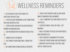 14 Wellness Reminders
