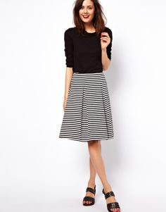 ASOS | ASOS Midi Skirt in Ponte Stripe at ASOS