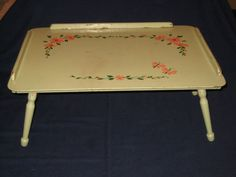 Vintage Adjustable 4 Position Light Green w/ Pink Floral Wood Bed Tray Lap Table