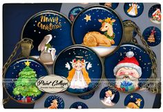 Christmas, winter, angel, snow - bottle cap images Digital Collage Sheet Printable images for Bottle Cap Cabochon images 4 sizes 1.5 inch 16 mm 12 mm 1 inch circle / PRINTABLE DOWNLOAD