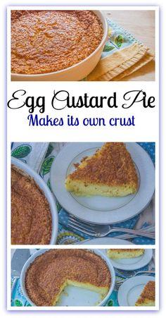 A o Egg Custard Pie. A one bowl egg custard pie that makes its own crust. Custard Recipes, Egg Recipes, Dessert Recipes, Cooking Recipes, Recipies, Cake Recipes, Egg Custard Pies, Drink Recipes, Coconut Custard