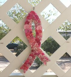 Breast Cancer Ribbon Wall Hanging made from Buttons, $10