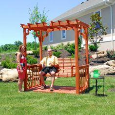 Outdoor 7' Wooden Cedar Wood Pergola Yard Garden Porch Swing Free Standing