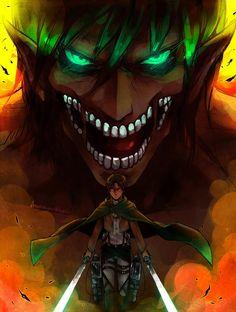 Eren Yeager/ Titan form - Attack on Titan - Shingeki no Kyojin Attack On Titan Episodes, Attack On Titan Season 2, Attack On Titan Fanart, Attack On Titan Eren, Attack On Titan Tattoo, Film Manga, Art Manga, Manga Anime, Levi X Eren