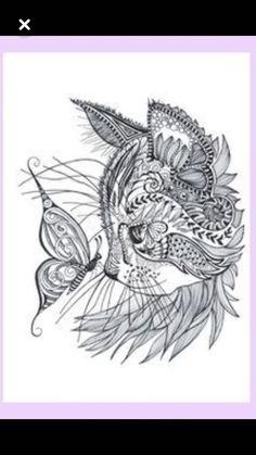 Kitty Face with Butterfly Mandala Drawing, Mandala Tattoo, Wedding String Art, Stylo Art, Dibujos Zentangle Art, Cat Tattoo Designs, Tattoo Feminina, Black And White Painting, Zentangle Patterns
